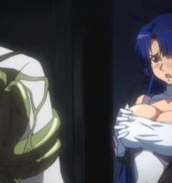 【エロアニメ動画】対魔忍ムラサキが魔科医の罠にかかって触手陵辱されて処女を奪われる