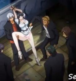 【エロアニメ動画】不良高校に赴任させられた女教師が不良どもに集団で犯され処女膜破られる